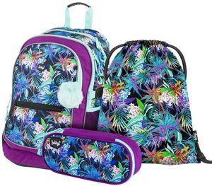 Baagl Schulrucksack Set Mädchen 3 Teilig, Schultasche ab 3. Klasse, Grundschule Ranzen mit Brustgurt, Ergonomischer Schulranzen (Jungle)