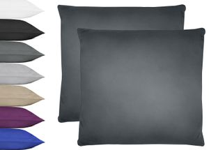 NatureMark 2er Pack Microfaser Kissenbezug   100% Polyester   80x80cm   Anthrazit grau