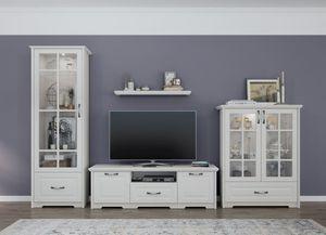 Wohnzimmer Komplett - Set D Falefa, 4-teilig, Farbe: Elfenbein
