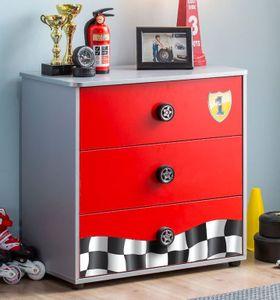 Cilek RACECUP Kommode Sideboard Anrichte Kinderkommode Rot / Grau
