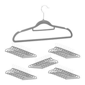 relaxdays 50 x Samt Kleiderbügel grau Samtbügel Anzugbügel Garderobenbügel Bügel Set