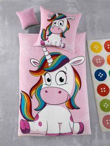 Kuscheli® Cashmere Touch Plüsch Kinderbettwäsche Mädchen Einhorn Kinder Bettwäsche Winter Fleece Set Kissenbezug rosa pink Pferde, Größe:100x135 + 40x60