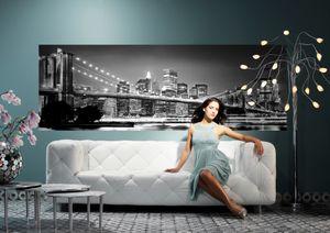 "Komar Fototapete ""Brooklyn Bridge"" 368 x 127 cm, schwarz/weiß, New York bei Nacht, 4-320"