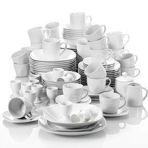 MALACASA, Serie Elisa, 100-teilig Tafelservice, Porzellan Kombiservice mit Speiseteller, Suppenteller, Eierbecher, Kaffeetassen, Müslischalen, Dessertteller für 12 Personen Grauweiß