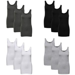 ONLY 3er Pack Damen Oberteile Basic Tank Tops weiß, schwarz blau Frauen Shirt lang Sommer Shirts Top 15239691, Größe:L, Farbe:3er Pack schwarz