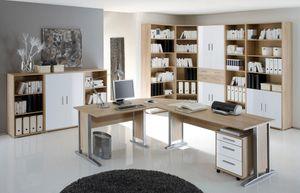 Arbeitszimmer Büroeinrichtung Büromöbel Büro komplett Set 11-tlg. OFFICE LINE Eiche Weiß