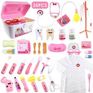 35 Stück Arztkoffer Medizinisches Spielzeug Doktor Set Rollenspiele Lernspielzeug Geschenke für Kinder Rosa
