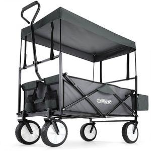 Bollerwagen Handwagen Transportwagen mit Dach Vollgummireifen Sonnendach Netztaschen Außentasche, Farbe:Grau