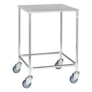 Kongamek Edelstahl- Tischwagen rostfrei 760x440mm Ladefläche Gummibereifung ohne Bremse