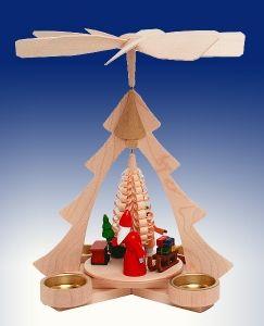 Tischpyramide Weihnachtsmann mit Eisenbahn mit Teelicht BxHxt 21x26x22,5cm NEU