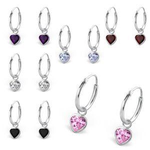 Creolen für Kinder: Mädchen Silber Ohrringe mit Zirkonia Herz, Farbe:CZ Crystal