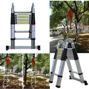 Teleskopleiter 5M Alu Klappleiter Anti-Rutsch150 Kg Belastbarkeit Multifunktionsleiter aus hochwertiges Aluminium ausziehbare Leiter Zusammenschiebbar