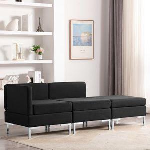 Multifunktionale- 3-tlg. Sofagarnitur,Couchgarnitur,Loungesofa,Ecksofa,Sofa Couch,Wohnzimmer-Sofa für 3 Personen Stoff Schwarz 65 x 65 x 65 cm 🦝2419