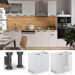Vicco Spülenunterschrank 80 cm FAME Line Küchenschrank Küchenzeile Landhaus Weiß