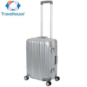 Travelhouse - London - Handgepäck Koffer Trolley S silber - Alu-Polycarbonat - Hartschalenkoffer