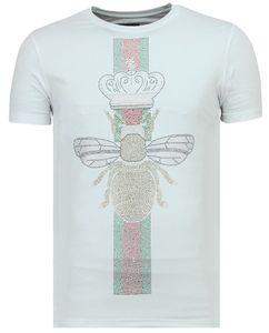 King Fly Glitzer - Shirt Mit Strasssteinen - Weiß - S