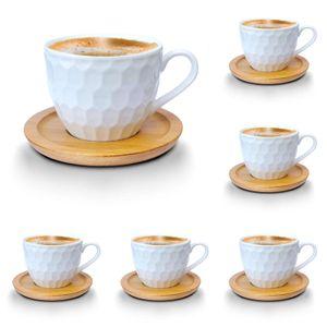 Espressotassen-Set weiss Porzellan Tassen Teeservice Kaffeeservice mit Bambus Untertassen 12-Teilig (Espressotassen 100ml, Mod2)