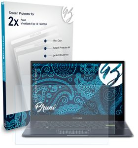 Bruni Basics-Clear 2x Schutzfolie kompatibel mit Asus VivoBook Flip 14 (TM420IA) Folie