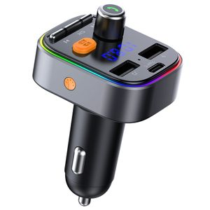 Neuer Bluetooth-Sender, Auto-MP3-Eintasten-Bass, farbenfrohe Atmosphäre, Licht vom Typ C, Bluetooth-Autoladegerät, Autoradioadapter mit Mikrofon und 2 USB-Ladegeräte