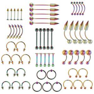 60 Stück Großhandel Zunge Augenbraue Lippen Bauchnabel Ring piercing Kit bunt Gemischt