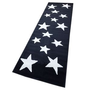 Moderner Läufer Teppich Brücke Teppichläufer Sterne Stars verschiedene Farben ca. 80x250 cm, Größe:80x250 cm, Farbe:schwarz/creme