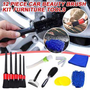 12 Stück Kunststoff Rundbürste für Auto Beauty Detail Auto Reinigung kleine Bürste