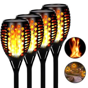 4 Stück 96LED Solar Flammenlicht IP65 Wasserdicht Garten Solarlicht Solarlampen Gartenfackeln Hoflicht Landschaft Sbeleuchtung