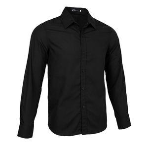 Feste Kleiderhemdmann-beiläufige Formale Dünne Sitzklagen-Hemdoberseite Schwarz XL Smokinghemd Hemd Solide