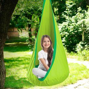 Hängehöhle Kinder Hängesessel Hängesack Hängematte als Turngerät mit Aufblasbares Sitzkissen,Grün