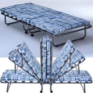 Gästebett Basic mit Matratze klappbar 80 x 190 cm Klappbett mit stabilem Metall-Rahmen Gäste-Liege mit Rollen Campingbett Metallbett