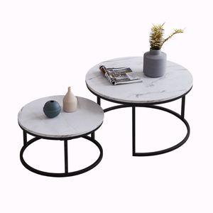 Tiema 2er Set Couchtisch Beistelltisch , Rund 80 x 45 cm & 60 x 33 cm , Wohnzimmertisch Sofatisch Marmor Muster Holztisch Metallrahme schwarz