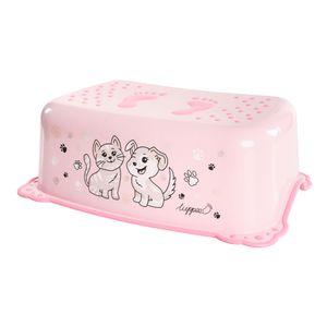 LUPPEE Tritthocker mit Anti-Rutsch-Funktion, Tritthocker Kinder, Kinder Tritt Ab ca. 18 Monate bis ca. 10 Jahren, Hund und Katze, Farbe:Pink
