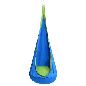 COSTWAY Haengesitz Haengehoehle Haengesessel Kinderhaengesitz Kinder Fly Schaukel mit Sitzkissen Blau