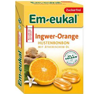 Em eukal Box Ingwer Orange Hustenbonbon Ätherische Öle zuckerfrei 50g