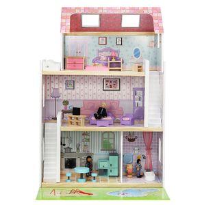 Großes Puppenhaus aus Holz Zubehör Traumhaus 4 Zimmer 3 Ebenen Garten Pool 6858