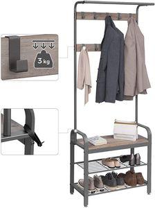 VASAGLE Garderobenständer mit Sitzfläche | Garderobe | Kleiderständer mit Sitzbank + 2 Gitterablagen + 9 abnehmbaren Haken greige-grau HSR40MG