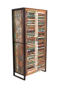 SIT Möbel Garderoben-Schrank | 2 Türen, 3 Böden innen, 1 Kleiderstange | Altholz mit Metall | B 90 x T 45 x H 180 cm | 13964-98 | Serie FIUME