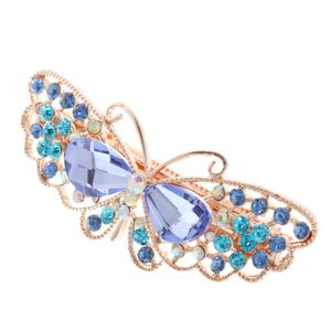 Vintage Elegante Haarnadeln Haarspange Clip Kristall Schmetterling Haarzubehör Blau 6.5cm