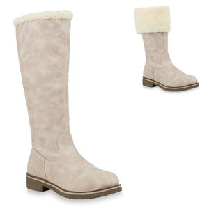 Mytrendshoe Damen Winterstiefel Warm Gefütterte Stiefel Winter Boots Kunstpelz 812658, Farbe: Creme, Größe: 36