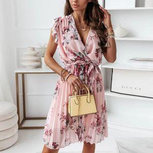 y Blumenkleid Für Damen Mit Strandrock,Farbe: Rosa,Größe:M