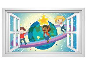 3D Wandtattoo Saturn Kinderzimmer Sterne Weltall Fenster selbstklebend Wandbild sticker Wohnzimmer Wand Aufkleber 11H671, Wandbild Größe F:ca. 140cmx82cm