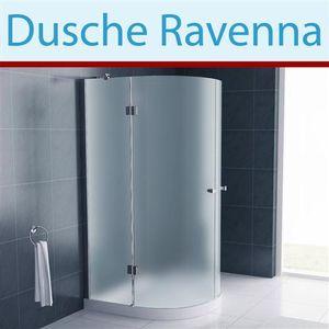 Jet-Line Duschkabine Ravenna Milchglas frosted Duschwand Glasdusche Duschabtrennung Glasabtrennung Dusche gefrostet Eckdusche rund abgerundet ESG Glas 8 mm Duschtür 100 cm Eckeinstieg