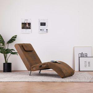 Massage Relaxsessel Relaxliege Liegesessel mit Kissen Braun Wildleder-Optik
