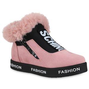 Mytrendshoe Damen Plateau Sneaker Warm Gefütterte Turnschuhe Winter Schuhe 824360, Farbe: Rosa, Größe: 41