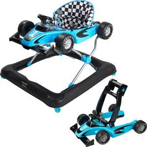 ib style® 2 in 1 LITTLE RACER Gehfrei & abnehmbarer Laufwagen Babywalker Lauflernwagen Laufhilfe Licht & Sound BLAU