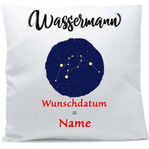 Kissen mit Namen Sternzeichen Wassermann Datum 40x40 cm inkl. Füllung Kuschelkissen Wunschtext, Kissen Farbe:Vorderseite weiß / RS schwarz