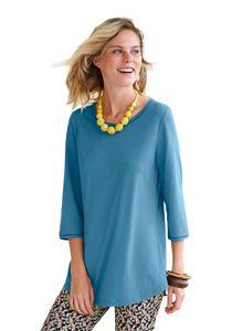 Green Baumwolle Damen Long-Shirt mit 3/4-Arm