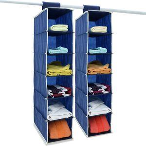 DEUBA® 2x Hängeaufbewahrung Hängeregal Hängeorganizer Aufbewahrung Stoff Schrank, Ausführung:6 Fächer  blau/weiß