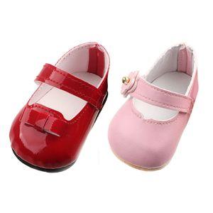 2 Paar Schöne Flache Puppenschuhe Ebeneschuhe mit Riemen Für 17 Zoll Zapf Baby Born Puppe ( Pink + Rot )