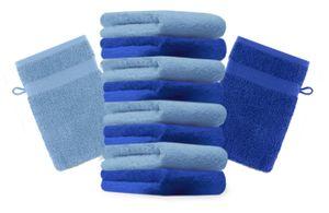 Betz 10 Stück Waschhandschuhe PREMIUM 100% Baumwolle Waschlappen Set 16x21 cm Farbe royalblau und hellblau